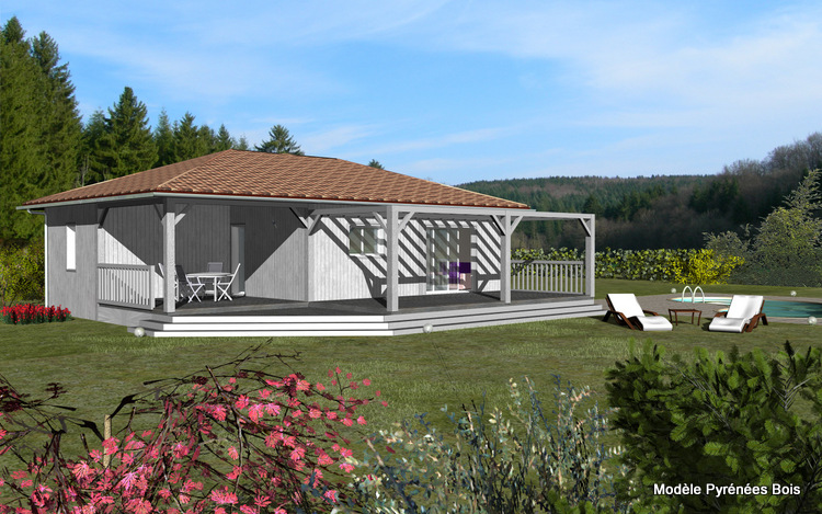 Maison bois plain pied pyr n es bois maisons ossature for Modele de terrasse en bois