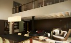 Maison bois contemporaine intérieur - Landes - mezzanine, poutres apparentes