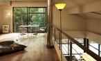 Maison bois contemporaine intérieur - Landes - mezzanine, vide sur sejour