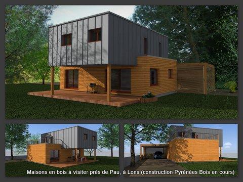 maison bois en cours construction lons 64