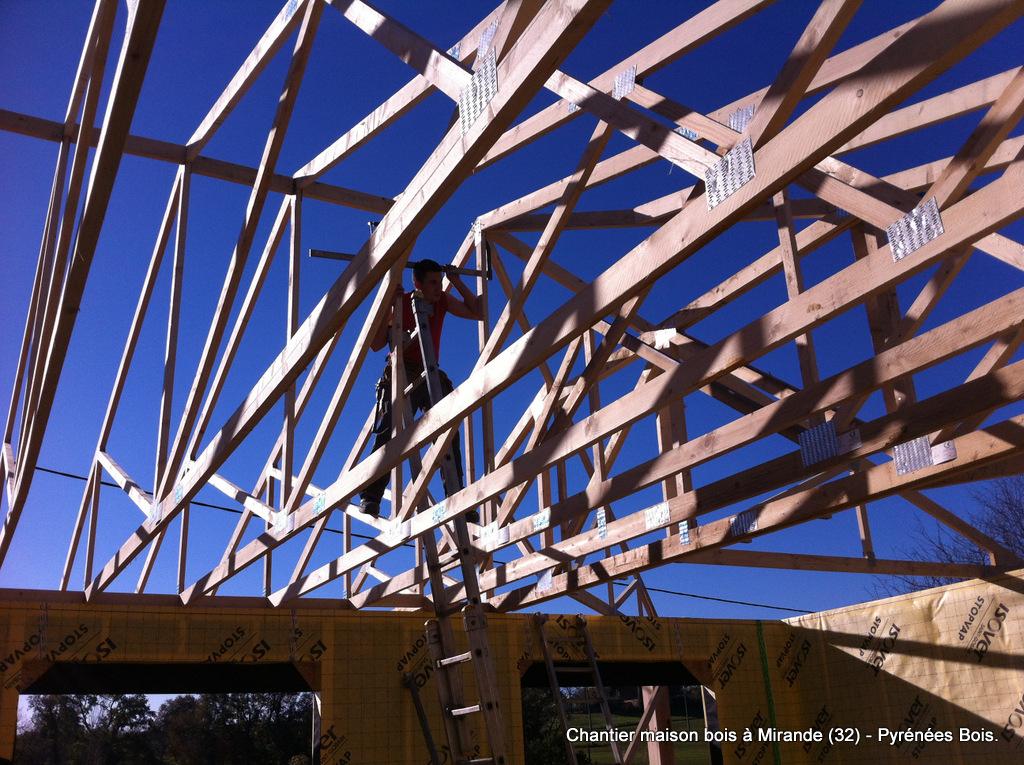 Maison bois en construction (Gers, 32) : charpente