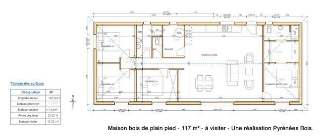 plan maison en bois contemporaine